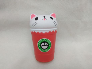 Wholesale Cat Head Coffee Cup PU Squishy Slow Rising Toy