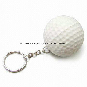 PU Foam Stress Golf Ball Keychain Toy