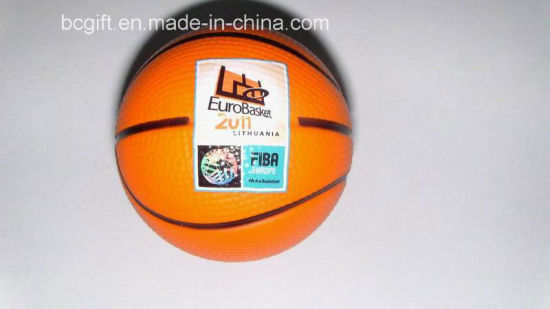PU Foam Squishy Stress Ball Basketball (FIBA) Shape Toy