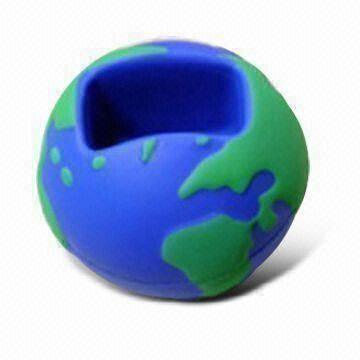 PU Foam Stress Toy Globe Ball Mobile Phone Holder
