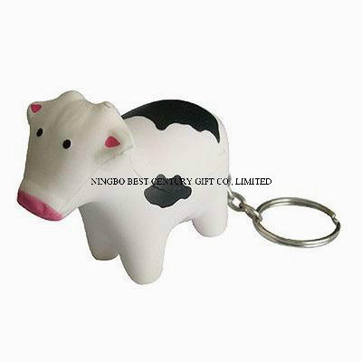 PU Stress Keychain Cow Shape Gift Toy