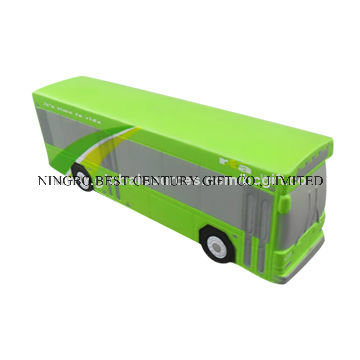 Green Bus Design PU Foam Promotional Toy Stress Ball
