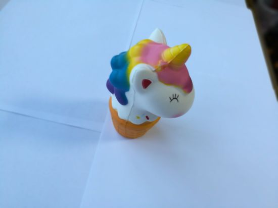 Hot Selling Unicorn Horse Head Ice Cream PU Squishy Toy