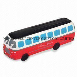 Large Autobus Shape PU Foam Promotional Toy Stress Ball