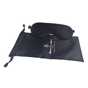 Black Pure 100% Silk Eye Patch Sleeping Mask with Carry Bag Customized Gift Lightproof Sleep Eyemask Breathable Eyepatch Silk Blindfold Travel Cosmetic Eyeshade